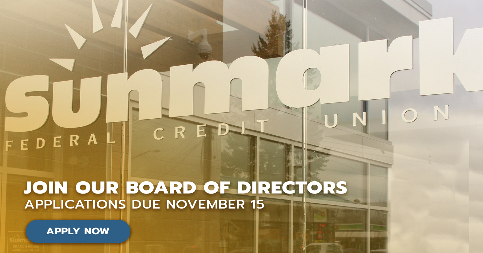 Volunteer for Sunmark Board with outdoor sign logo of Sunmark