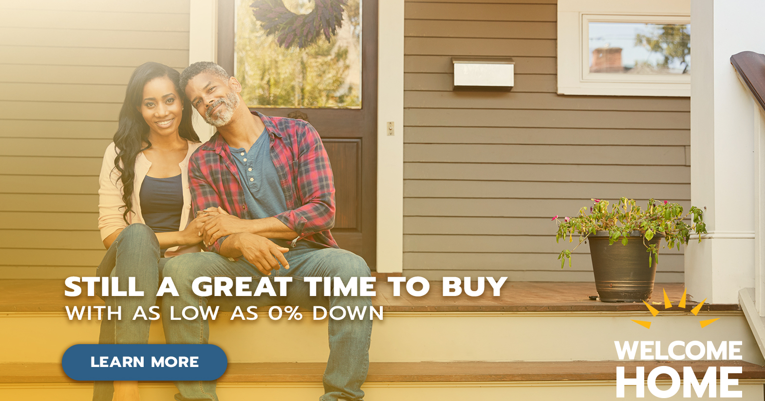 couple on front porch promoting mortgage
